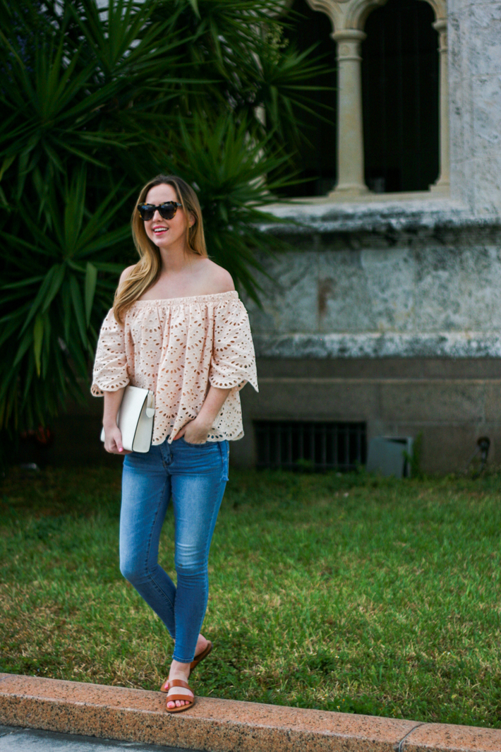 Eyelet off the shoulder blouse ministry of style
