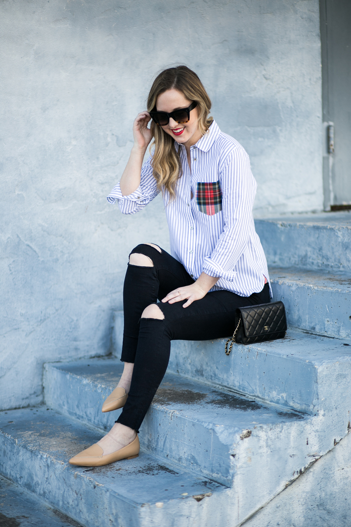 SIDESMILE STYLE PLAID AND STRIPED BUTTON DOWN-14