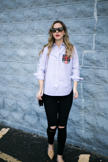 SIDESMILE STYLE PLAID AND STRIPED BUTTON DOWN-7