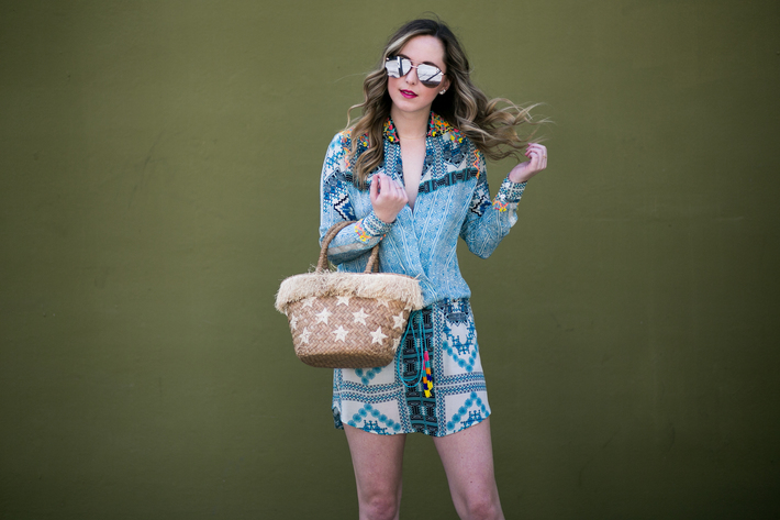SIDESMILE STYLE Kayu Woven Straw Star Tote