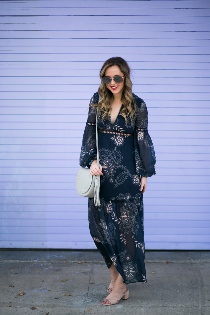 SIDESMILE STYLE Ministry of Style Navy Maxi Dress-6