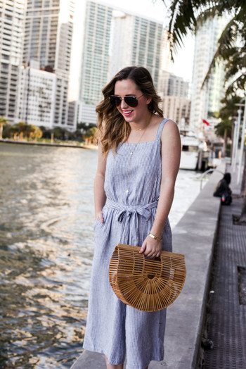 SIDESMILE STYLE LINEN STRIPED JUMPSUIT-11